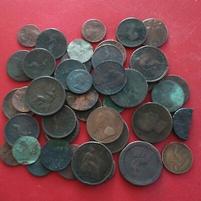 JOB LOT OF OLD BRITISH COPPER COINS , 370 grams (well worn) hence 99p start.