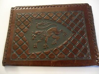 Handstitched Italian Leather Book Cover..embossed..beautiful Coat Of Arms !