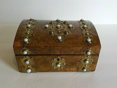 19th C. Burl Wood Sewing Box, Brass Banding, Milk Glass Studs