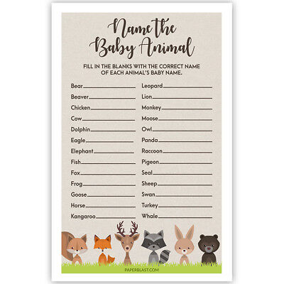 Woodland Creatures Baby Shower Game - Name The Baby Animal - Set of 30