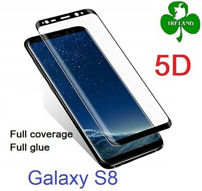 Tempered Glass Screen Protector for Samsung Galaxy S8 Curved Clear Full Cover 5D