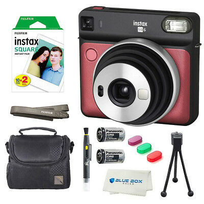 Fujifilm Instax SQUARE SQ6 Instant Film Camera (Ruby Red) + Extra Accessories
