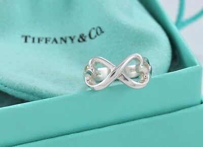 38cae350666b7 TIFFANY & CO. Silver Paloma Picasso Double Loving Heart Band Ring Size 7  w/Pouch