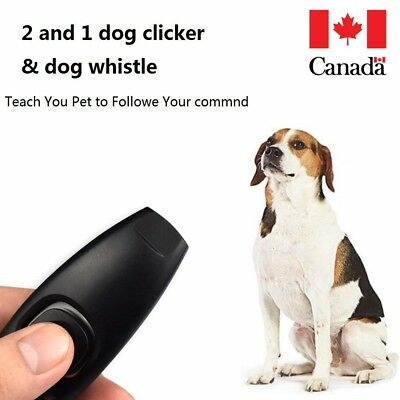 Puppy Dog Cat Pet Click Clicker whistle Training Obedience 2 in 1 Black CA STOCK