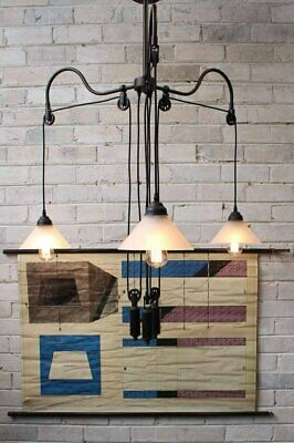 Conical Glass Chandelier Pulley Light