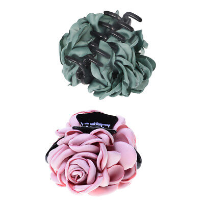 2pcs Elegant Women Girls Fabric Rose Flower Bow Hair Claw Jaw Clip Clamps