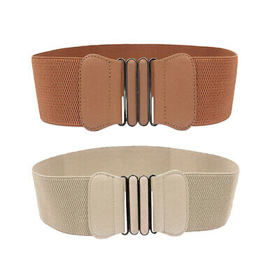 2Pack Ladies Stylish Bow Buckle Waist Belt Stretchy Waistbands Brown+Beige