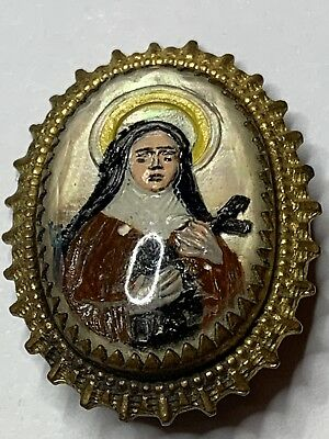 † Nun's Vintage Hand Painted St Theresa Brightly Colorful Pin / Brooch †