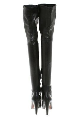 8a4045237a74 Alaia Sexy Thigh High Over The Knee Black Leather Boots Heels 38