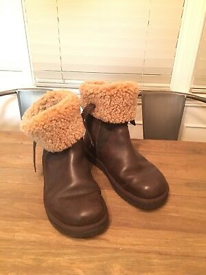 UGG Dark Chocolate Brown Leather Fold Over Sheepskin Boots Size 8