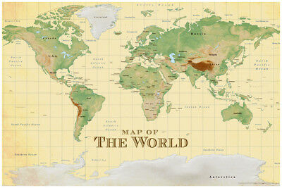 ProMaps Map of the World Vintage Style Sepia Poster 12x18