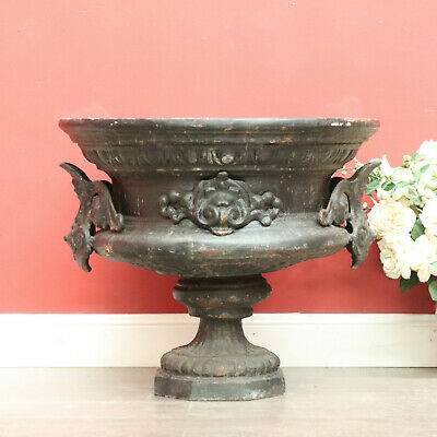 1 of 2 Antique French Cast Iron Jardiniere Garden Decor Pot Planter Ornament Urn