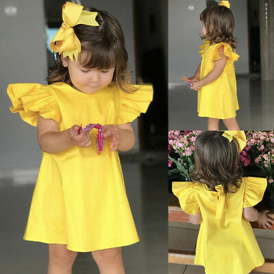 Infant Baby Girls Fly Sleeve  Bow Dress Clothes Dresses Princess Tutu 3M-24M