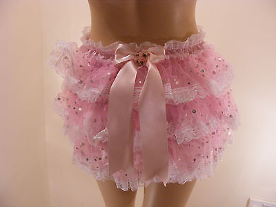 Adult Baby Sissy Pink Satin Organza Sequin Diaper Cover Panties W/proof Locking