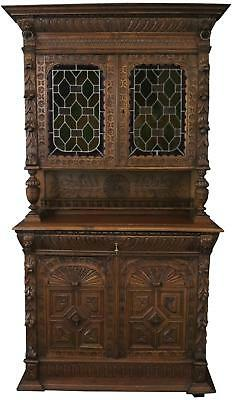 Antique Buffet Mechelen Renaissance 1890 Carved Oak Wooden Peg  Stained Gl