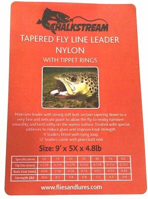 """""""CHALKSTREAM"""" Tapered Nylon fly fishing leader WITH 10 TIPPET RINGS 7 sizes 9'"""
