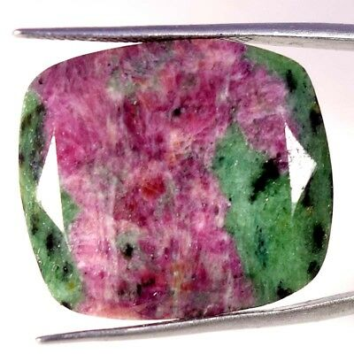 41.55Ct 100% Natural Red Green Ruby Zoisite Precious Cushion Cut Loose Gemstones