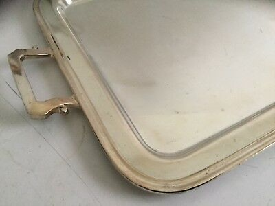 """Mid Century Modern Silverplated Handled Serving Tray Silver Plate 22x14"""""""