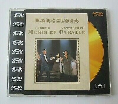 "Freddie Mercury : Barcelona CD Video 5"" CDV Maxi Single 1988 Polydor Queen"