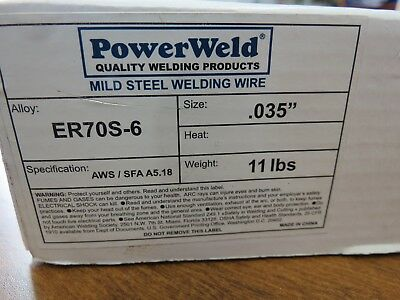 "ER70S-6 Mig Welding Wire 11 lb Roll .035"" Mild Steel ER70S6 by PowerWeld"