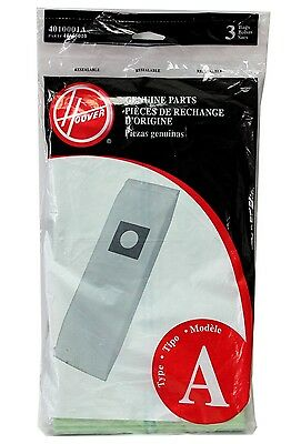 Genuine Hoover Vacuum Bags Type A 3 Pack 401001A Part # 43655010 NEW