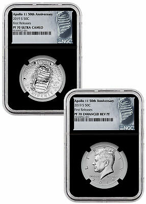 2019 S Apollo 11 50th 2-Coin Clad Half Set NGC PF70 FR Black PRESALE SKU57106