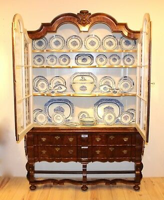 Antique Vitrine Cabinet including Chinese Porcelain Dinner Set 18thCentury Top!!