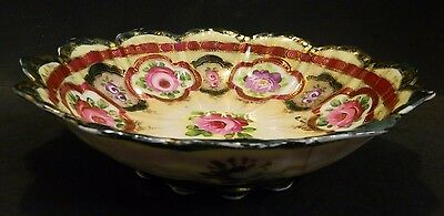 "Vintage Hand Painted Oriental Footed Scalloped Bowl Gold Highlights 9.5"" x 2.13"""