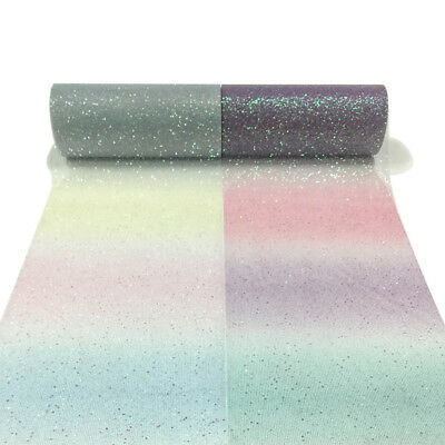 10yard Rainbow Glitter Tulle Roll Sequin Crystal Skirt DIY Craft Sparkling Party