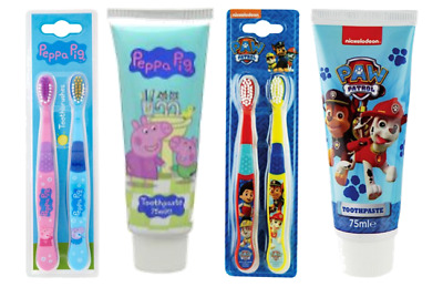 KIDS Peppa Pig PAW Patrol Twin Pack Toothbrush / Toothpaste 75ml / Gift Set