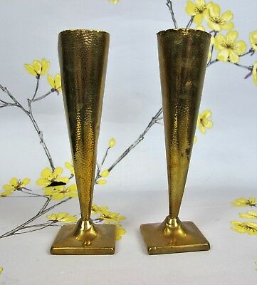 "Pair of vintage trench art brass POSY / TRUMPET / BUD VASES. Hammered. 5.5"" 14cm"