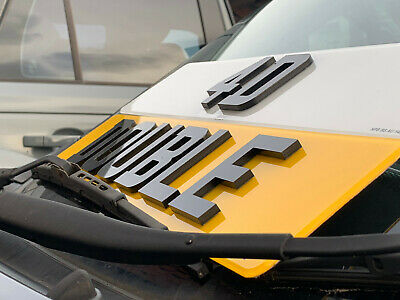 Pair 4D 3D Double Laser Cut Thick Gloss Raised Letters Road Legal Number Plates
