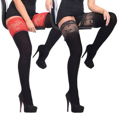 Exclusive Hold-ups 120 or 200 Denier Opaque Velvet Deep Lace Top New Size S - XL