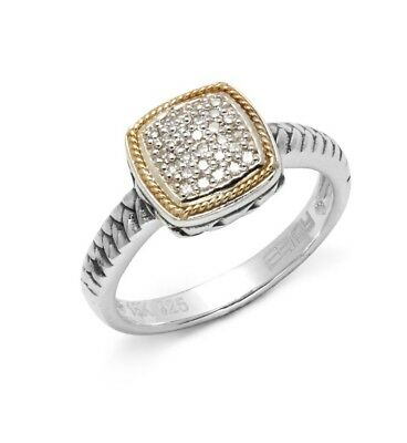 07663dc549c3f NEW! EFFY DIAMOND, 18 K Gold & Silver Square Ring/ Size 7 / Msrp $650 🎁