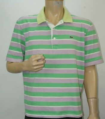 14f824468c Homme Lacoste Polo Chemise Manche Courte Vert Violet Taille 6 Grand