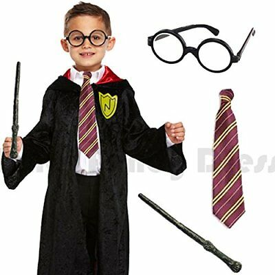 Childrens Kids Boys Deluxe Complete Wizard Fancy Dress Costume World Book Day