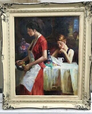 1960s ITALIAN  IMPRESSIONIST OIL PAINTING ON BOARD of two ladies signed Pina
