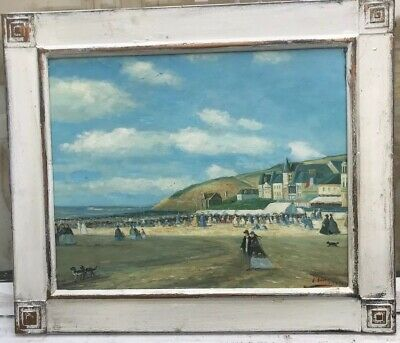 1920s style French impressionist oil painting / figures on beach signed E.Boudin