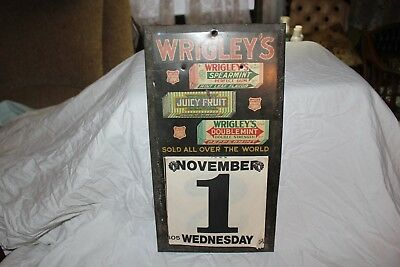 Rare Vintage c1930 Wrigley's Chewing Gum Candy Store Gas Oil Metal Calendar Sign