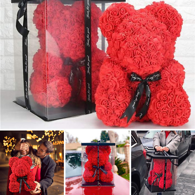 """Red Rose Flower Teddy Bear25CM"""" With Box Gift Perfect For mothers Day Gift"""
