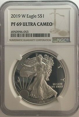 2019-W NGC PF69 PROOF Silver Eagle  BROWN Label PF 69 ~ LIVE ~