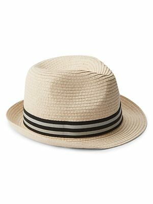 Gap Kids Boys Fedora Hat S M L XL Natural Straw Weave Striped Band Dimple 5461e8478142