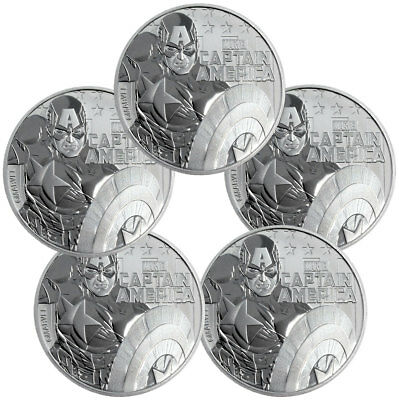 Lot of 5 2019 Tuvalu Captain America 1 oz Silver Marvel $1 BU SKU56980