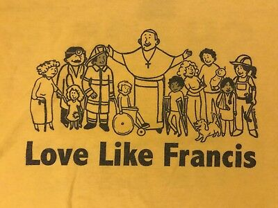 """St Francis of Assisi """"Love Like St. Francis"""" Men's Yellow T-Shirt -Share Burdens"""
