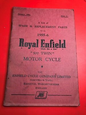 vintage ROYAL ENFIELD 500 TWIN SPARE PARTS LIST BOOK HANDBOOK 1955-6 motorcycle