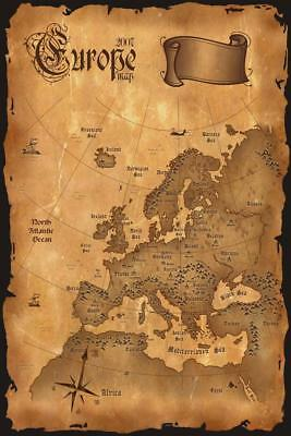 Europe Vintage Antique Style Map Mural inch Poster 36x54 inch
