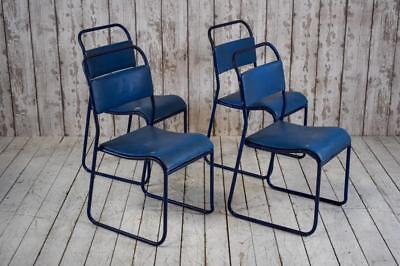 Set of 4 Vintage 'Shepherd' Mid Century Stacking Cafe Bare Kitchen Dining Chairs