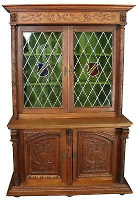 Bookcase Mechelen Renaissance Oak Vintage 1930 Stained Glass Shields 4-Do
