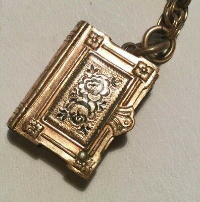 Antique Victorian Book shaped Pendant Locket gold aesthetic period