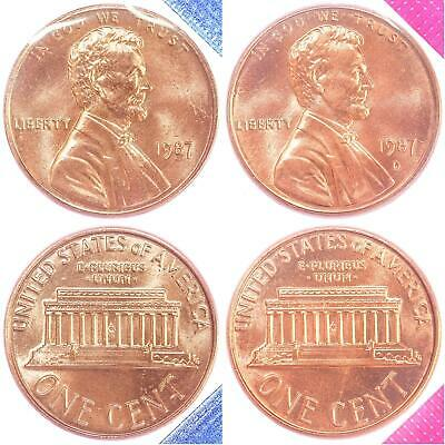 1987 P D Lincoln Memorial Cent BU US Mint Cello 2 Coin Penny Set